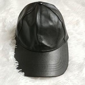 Leather Base Ball Cap Black Hat Velcro Stylish